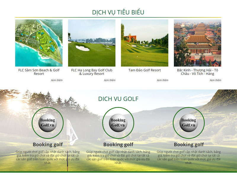 Thiết kế website golf