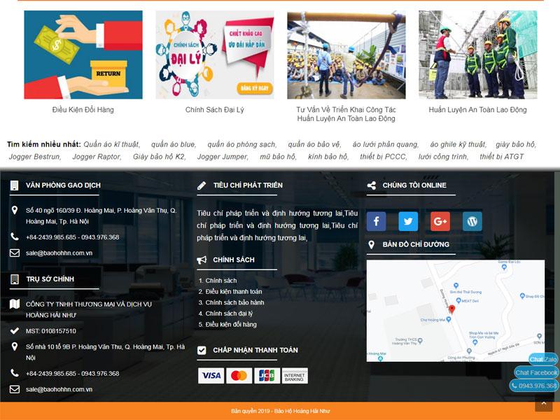 giao diện website bảo hộ lao động