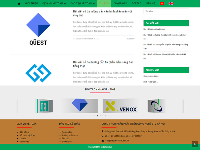 Thiết kế website kế toán song ngữ